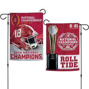 Alabama Crimson Tide 2020 CFP National Champions 2 Side Garden Flag