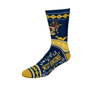 West Virginia Mountaineers Reindeer Sweater Stripe Socks - Large