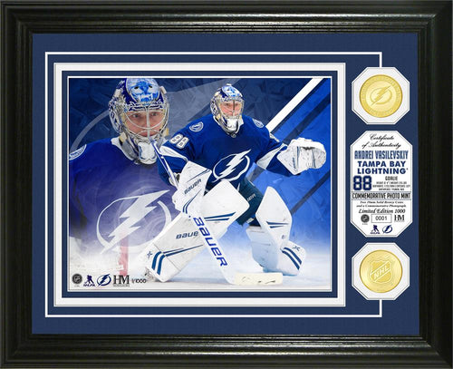 Andrei Vasilevskiy Tampa Bay Lightning Bronze Coin Photo Mint with action shot.