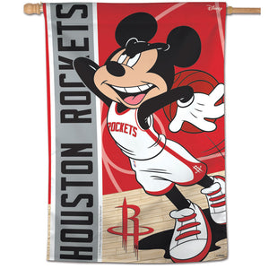 "Houston Rockets Mickey Mouse Vertical Flag 28""x40"""