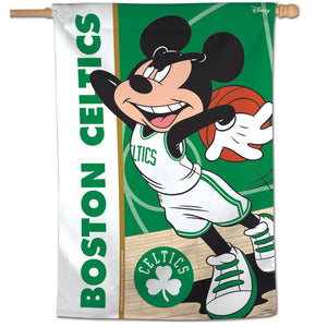 "Boston Celtics Mickey Mouse Vertical Flag 28""x40"""