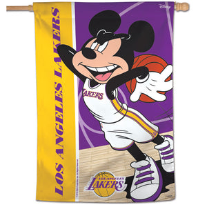 "Los Angeles Lakers Mickey Mouse Vertical Flag 28""x40"""