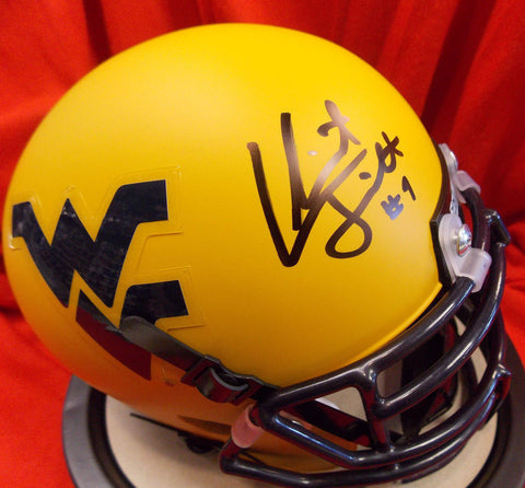 Clint Trickett West Virginia Mountaineers Signed Gold Mini Football Helmet