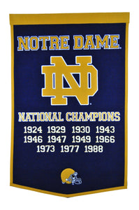 "Notre Dame Fighting Irish Dynasty Wool Banner - 24""x36"""