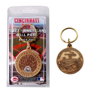 cincinnati reds great american ball park dirt key chain