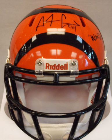 "Adam ""PAC-MAN"" Jones Signed Cincinnati Bengals Mini Football Helmet with ""Who Dey"" Incsription"