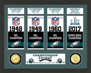 Philadelphia Eagles Super Bowl Banner Collection Bronze Coin Photo Mint