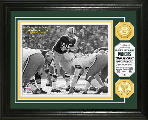 Bart Starr Green Bay Packers Ice Bowl Bronze Coin Photo Mint