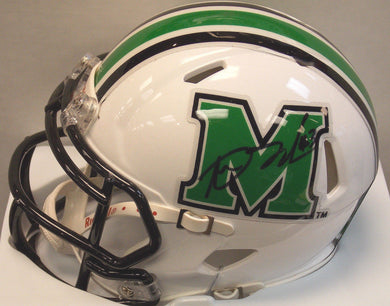 marshall football, aaron dobson signed marshall mini helmet