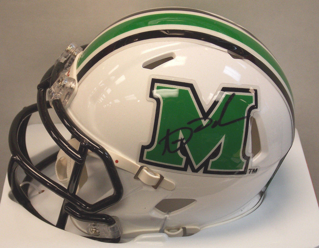 Online sports memorabilia signed mini Marshall University helmet by Aaron Dobson from Sports Fanz