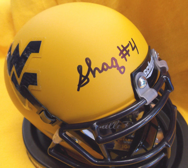 Shaquille Riddick West Virginia Mountaineers Signed Gold Mini Football Helmet