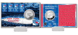 "New York Rangers Stanley Cup ""History"" Silver Coin Card"