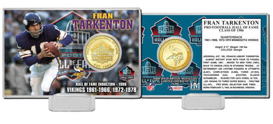 Frank Tarkenton Minnesota Vikings Pro Football Hall of Fame Bronze Coin Card