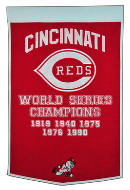 cincinnati reds world series champions wool dynasty banners