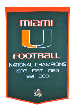 Miami Hurricanes Dynasty Wool Banner - 24