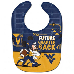 wvu football, wvu baby bib, wvu mickey mouse bib