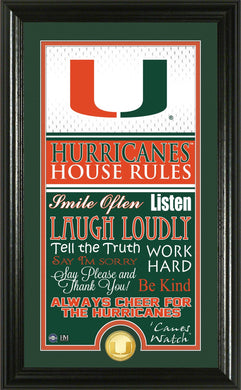 Miami Hurricanes House Rules Supreme Bronze Coin Photo Mint