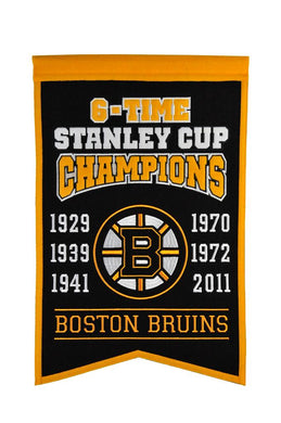 Boston Bruins 6 Time Stanley Cup Champions Banner - 14
