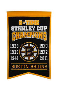 "Boston Bruins 6 Time Stanley Cup Champions Banner - 14""x22"""