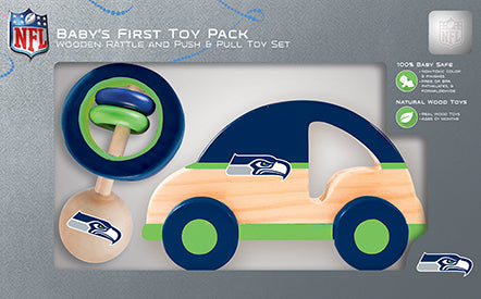 Seattle Seahawks Baby Push and Pull Toy, NFL Kids Toys, Push Pull and Rattle Combo