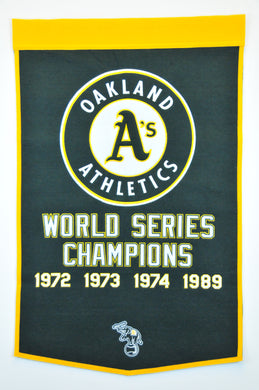oakland athletics, oakland a's world series champions wool dynasty banners