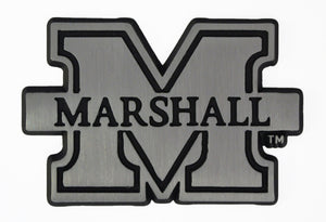 marshall thundering herd chrome car emblem, marshall chrome auto emblem