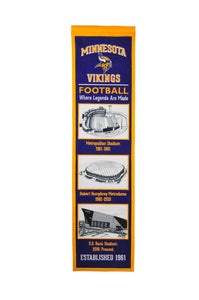 "Minnesota Vikings Stadium Evolution Heritage Banner - 8""x32"""