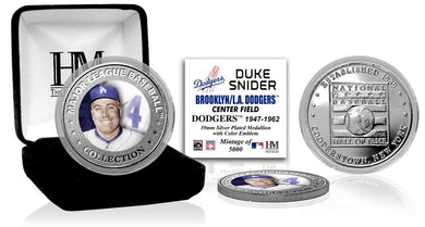 Duke Snider Los Angeles Dodgers Baseball Hall of Fame Silver Color Coin