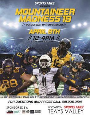 2019 Mountaineer Madness Autograph Extravaganza, will grier autograph, david sills autograph, gary jennings autograph, david long autograph, trevon wesco autograph