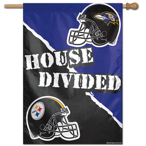 "Pittsburgh Steelers / Baltimore Ravens House Divided  Vertical Flag - 28""x40"""