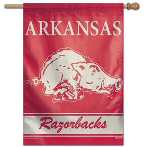 Arkansas Razorbacks College Vault Vertical Flag