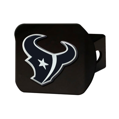 Houston Texans Chrome Emblem On Black Hitch Cover