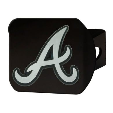 Atlanta Braves Chrome Emblem On Black Hitch Cover