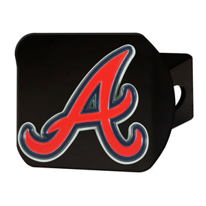 Atlanta Braves Chrome Emblem On Chrome Hitch Cover