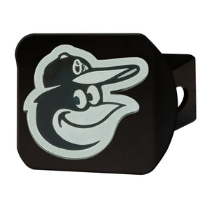 Baltimore Orioles Chrome Emblem On Black Hitch Cover