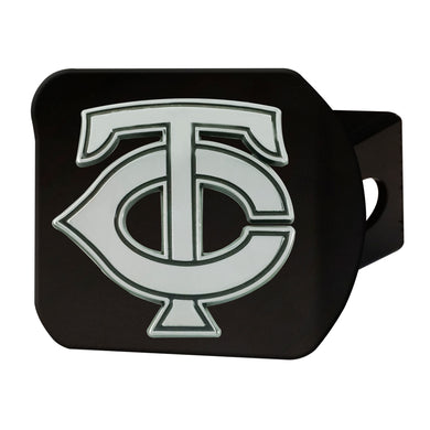 Minnesota Twins Chrome Emblem On Black Hitch Cover