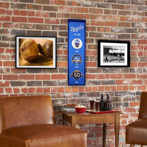 "Kansas City Royals 50th Anniversay Heritage Banner - 8""x32"""