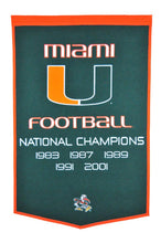 "Miami Hurricanes Dynasty Wool Banner - 24""x36"""