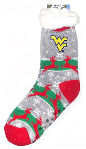 West Virginia Mountaineers Reindeer Sweater Sherpa Sock