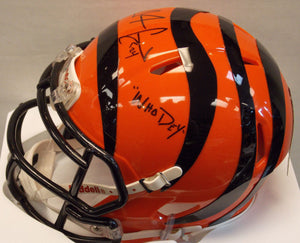 "Adam ""PAC-MAN"" Jones Signed Cincinnati Bengals Mini Helmet with ""Who Dey"" Incsription"