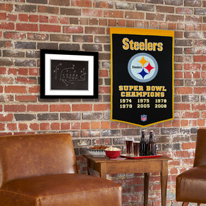 "Pittsburgh Steelers Dynasty Champions Wool Banners - 24""x36"""