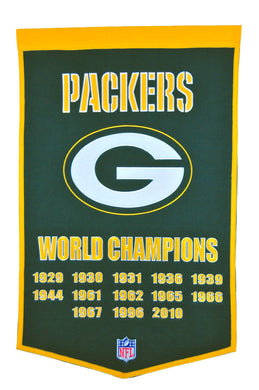 green bay packers super bowl champions dynasty wool banner