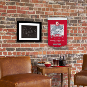 NCAA football memorabilia Alabama Bryant-Denny Stadium banner, shown on brick wall, from Sports Fanz