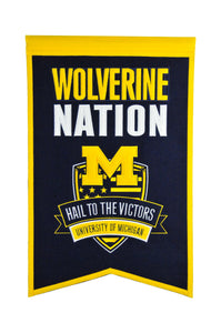"Michigan Wolverines Nation Banner - 14""x22"""