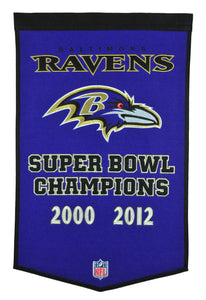 "Baltimore Ravens Dynasty Champions Wool Banners - 24""x36"""