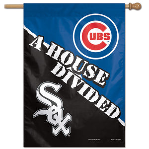 "Chicago Cubs / Chicago White Sox  Vertical Flag - 28""x40"", Chicago Cubs / Chicago White Sox  House Divided Vertical Flag"
