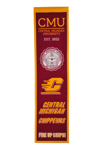 "Central Michigan Chippewas Heritage Banner - 8""x32"""