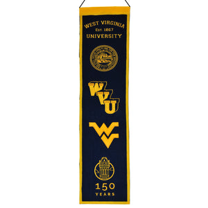 wvu football, wvu basketball, wvu 150 year heritage wool banner