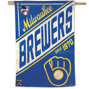 "Milwaukee Brewers Cooperstown Vertical Flag - 28""x40"""