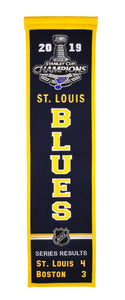 "St. Louis Blues 2019 Stanley Cup Champions Heritage Banner - 8""x32"""